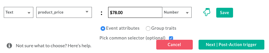 Selecting more product attributes