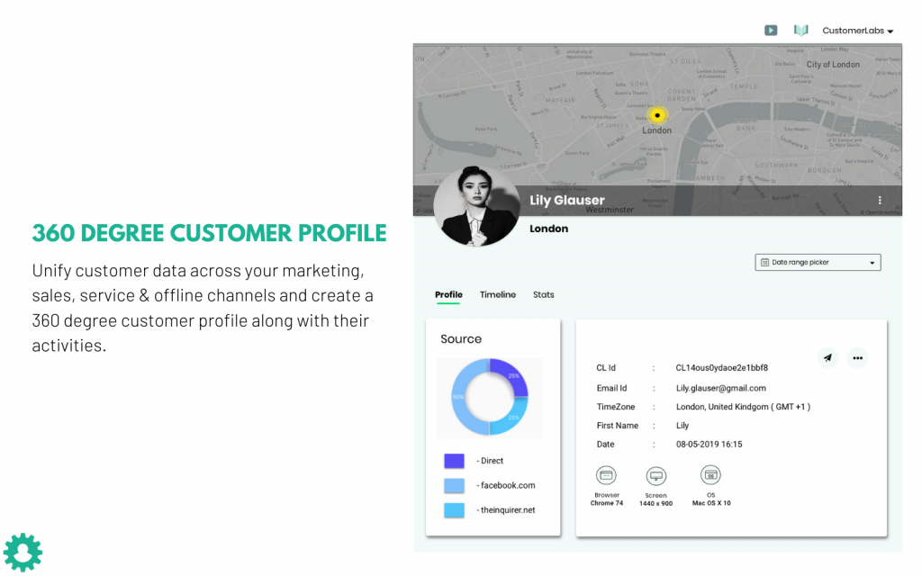 CustomerLabs CDP creates 360 profile for every single user.