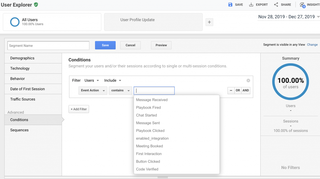Google Analytics creates segments